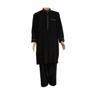 Salwar Kameez Men - Black with embroidery
