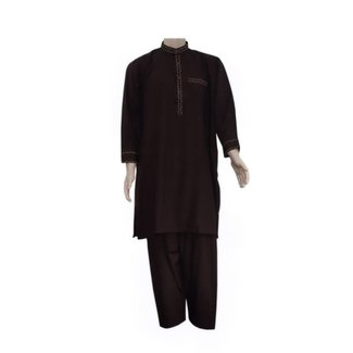 Salwar Kameez Men - Brown with embroidery