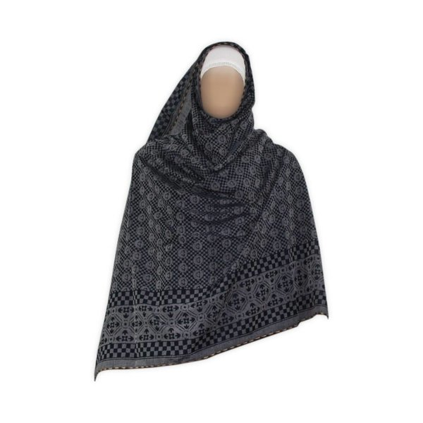 Gray Shayla hijab scarf with pattern