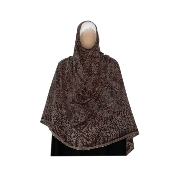 Gray brown Shayla hijab scarf with pattern
