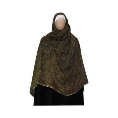 Olive green Shayla hijab scarf with pattern