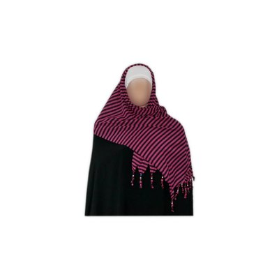 Shayla scarf with fringes and beads - Hijab in Pink