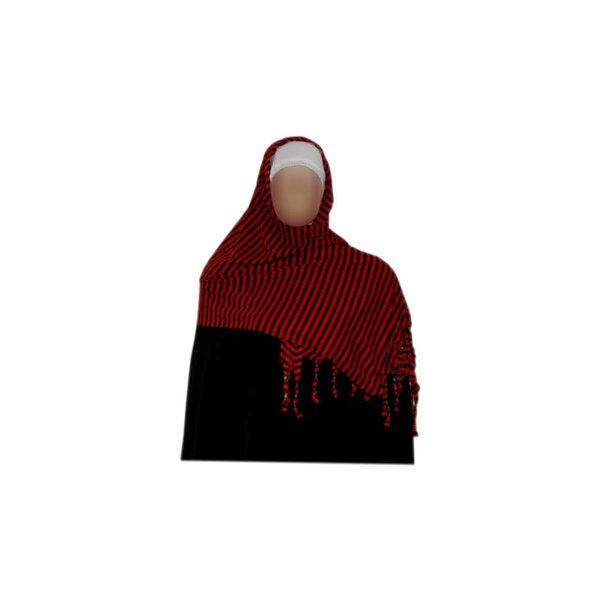 Shayla Schal mit Fransen u. Perlen - Hijab in Rot