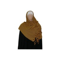 Shayla scarf with fringes and beads - Hijab in Yellow