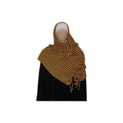 Shayla Schal mit Fransen u. Perlen - Hijab in Gelb
