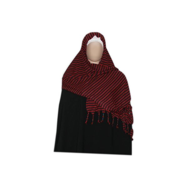 Shayla scarf with fringes and beads - Hijab in Dark Red