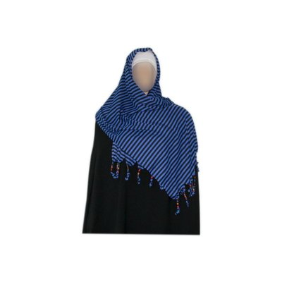 Shayla scarf with fringes and beads - Hijab in Blue