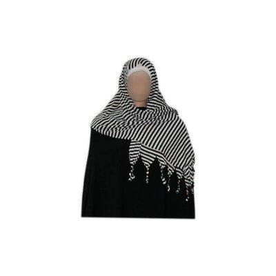 Shayla Schal mit Fransen u. Perlen - Hijab in Weiss