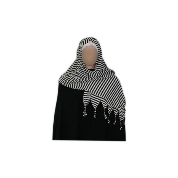 Shayla scarf with fringes and beads - Hijab in White