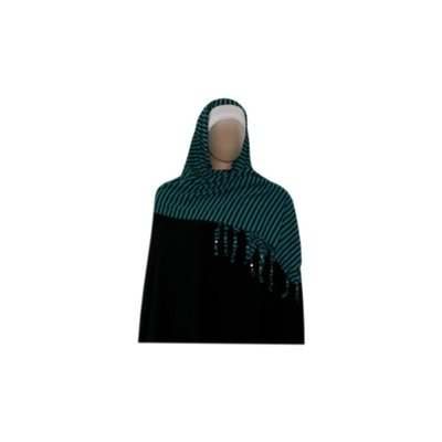 Shayla scarf with fringes and beads - Hijab in Turquoise