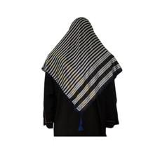 Großes Tuch - Shimagh Blau-Schwarz 120x115cm