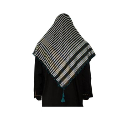 Large Scarf - Shimagh in Turquoise-Black 120x115cm