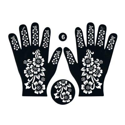 Selbstklebende Hennaschablone - Hand 3-Teilig