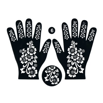 Self-adhesive Henna Stencil - Hand 3-piece set