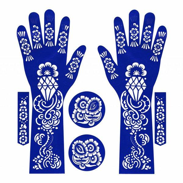 Self-adhesive Henna Stencil - Hand 6-piece set
