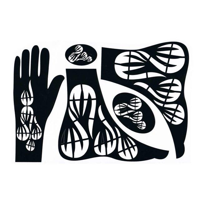 Hennaschablone Hand/Fuß 5-Teilig