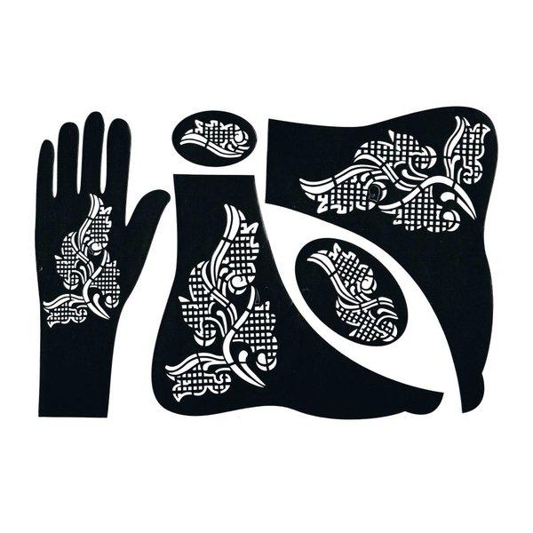Self-adhesive Henna Stencil - Hand 5-piece set