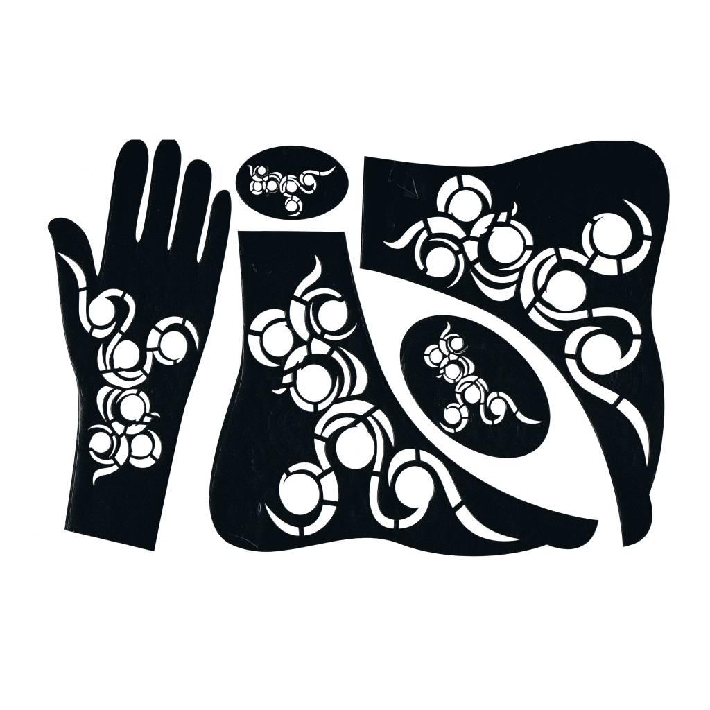 henna schablone tattoo hennaschablone hand 5pcs oriental style. Black Bedroom Furniture Sets. Home Design Ideas