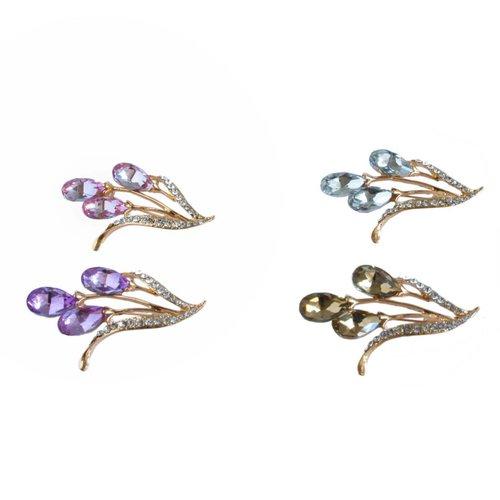 Scarf pin with rhinestone flower - Gold