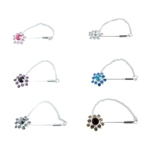 Kopftuchnadel mit Strassblüte in Silber