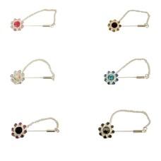 Kopftuchnadel mit Strassblüte Silber