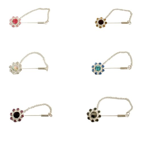 Scarf pin with rhinestone flower - Silver