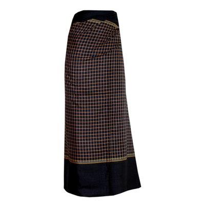Traditional Dhoti-leg dress - brown plaid