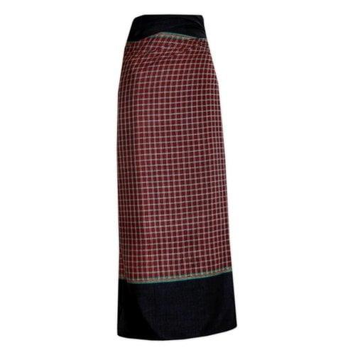 Traditional Dhoti-leg dress - dark red plaid