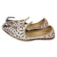 Indian beak shoes - Men Khussa in White-Red