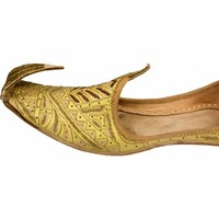 Indian beak shoes - Men Khussa in golden colour