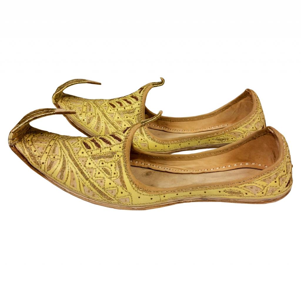 Indian Beak Shoes Men Khussa In Golden Colour Oriental