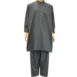 Salwar Kameez Men - Dark grey with embroidery