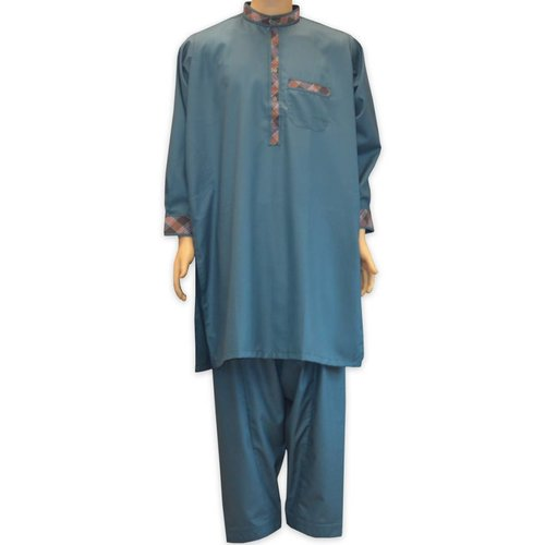 Salwar Kameez Men - Petrol with embroidery