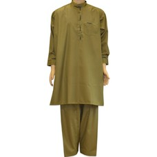 Salwar Kameez Men - Olive green with embroidery
