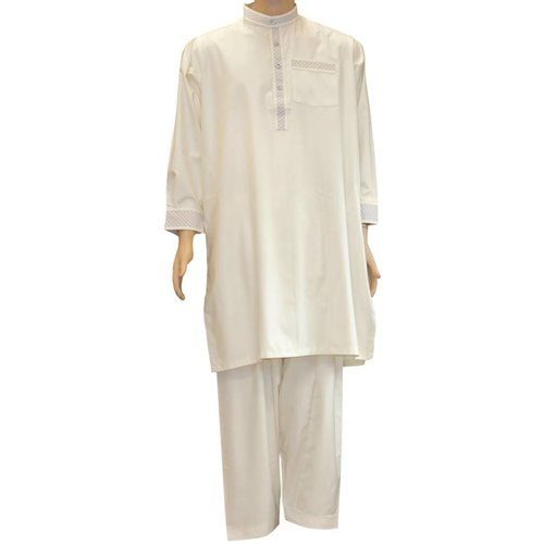Salwar Kameez Men - Cream with embroidery