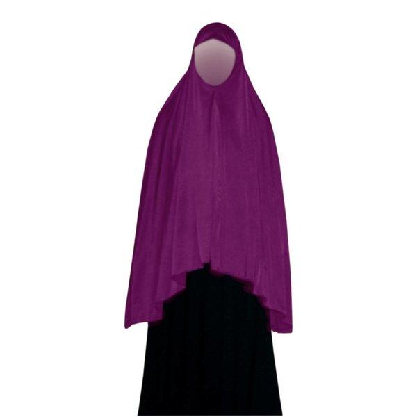 Big khimar hijab in Violet - Elastic head scarf