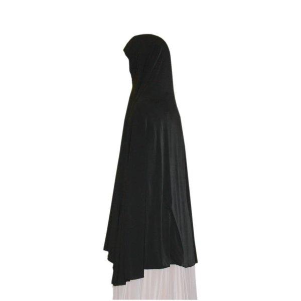 Großer Khimar Hijab in Schwarz - Elastisches Kopftuch