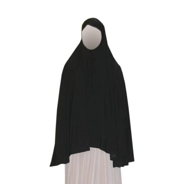 Big khimar hijab in Black - Elastic head scarf