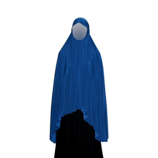 Big khimar hijab in Blue - Elastic head scarf