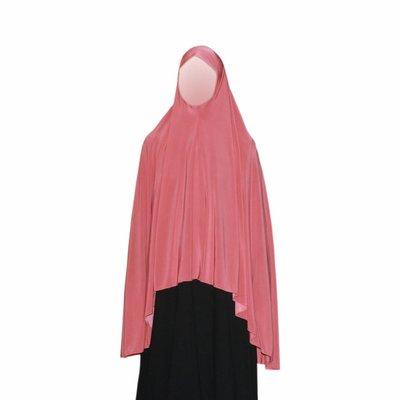 Big khimar hijab in Salmon Pink - Elastic head scarf