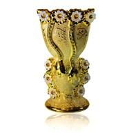 Mubkara - Large censer ceramics for Bakhour incense burning golden colour