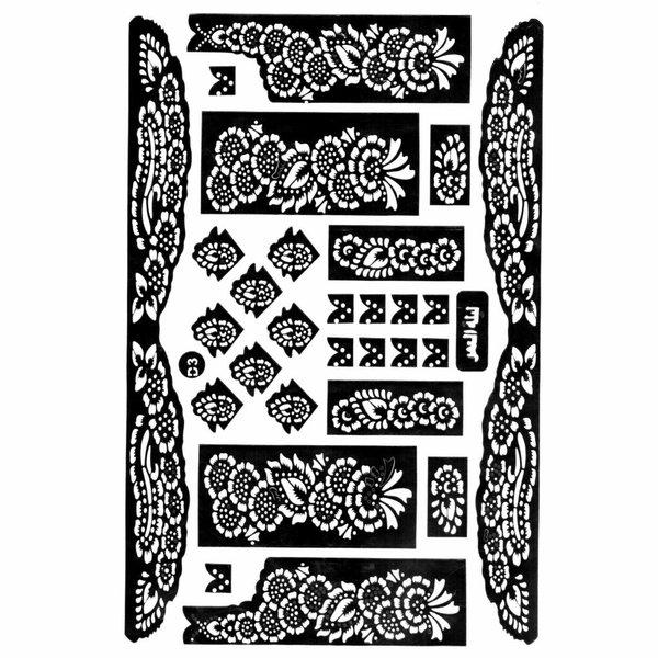 Selbstklebende Hennaschablonen - Maxiset (38cm x 27cm)