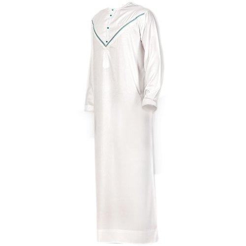 Al Noor Arabic Galabiya Jubbah - White Green