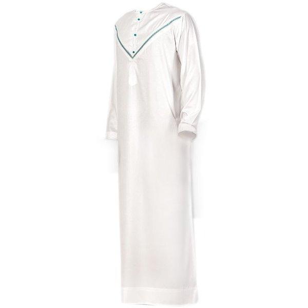 Arabic Galabiya Jubbah In White Green By Al Noor
