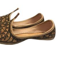 Orientalische Schnabelschuhe - Khussa Schuhe in Braun-Schwarz