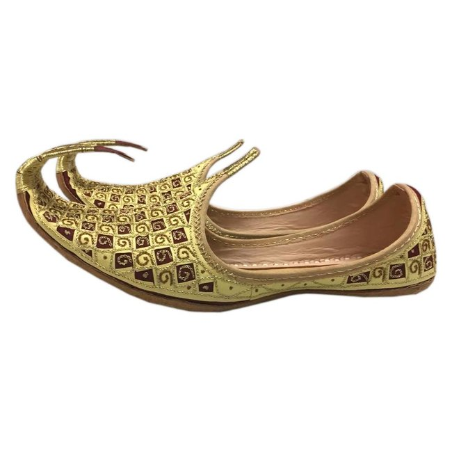 Indian Khussa Shoes In Gold-Red