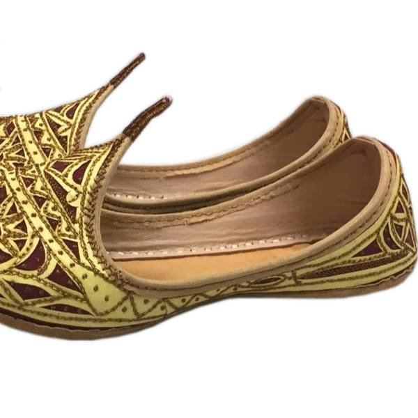 Indian Beak Shoes - Oriental Khussa In Gold-Red