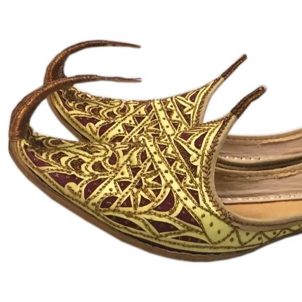 Orientalische Schnabelschuhe - Khussa Schuhe In Gold-Rot