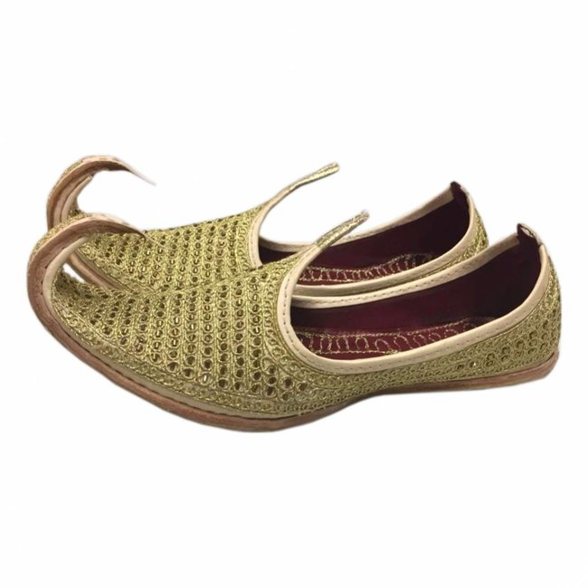 Indian Khussa Shoes In Gold