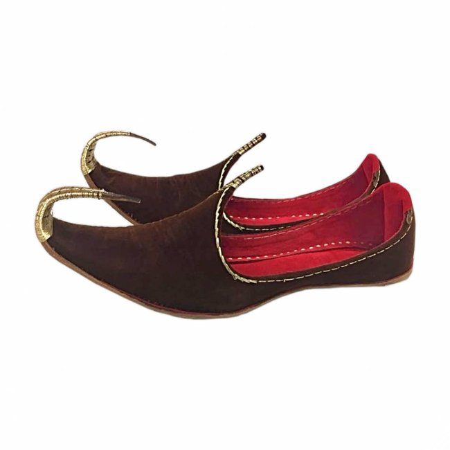 Indian Khussa Shoes In Brown-Gold